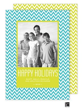 Turquoise chevron Holiday Flat Photo Card