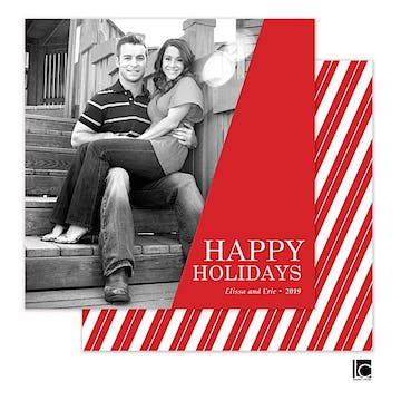 Bold Red Holiday Square Flat Photo Card