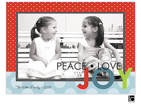 Red and blue peace, love, joy Holiday Flat Photo Card