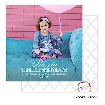 Simply Christmas Holiday Square Flat Photo Card