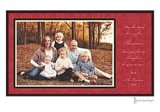 Damask Red On Red Flat Photo Card