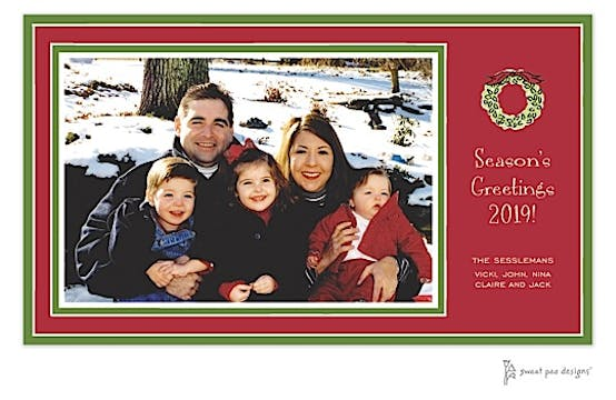 Green Borders On Red Christmas Print & Apply Flat Photo Card