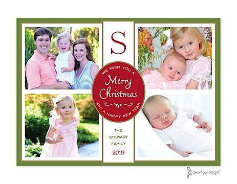 Flat Photo Collage Dark Red, Green And Gold Flat Photo Holiday Card