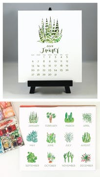 Cactus & Succulents 2020 Watercolor Desk Calendar & Easel