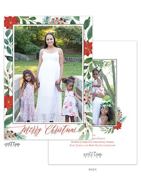Christmas Flora Frame Holiday Photo Card