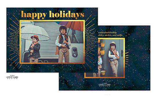 Bright Stars Happy Holidays Holiday Photo Card
