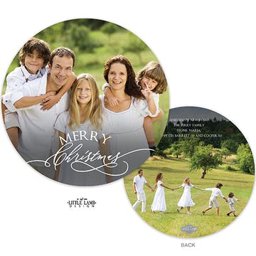 Merry Christmas Round Holiday Photo Card