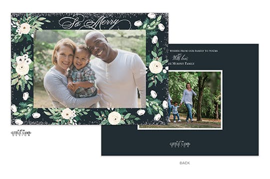 So Merry Frosted Floral Holiday Photo Card