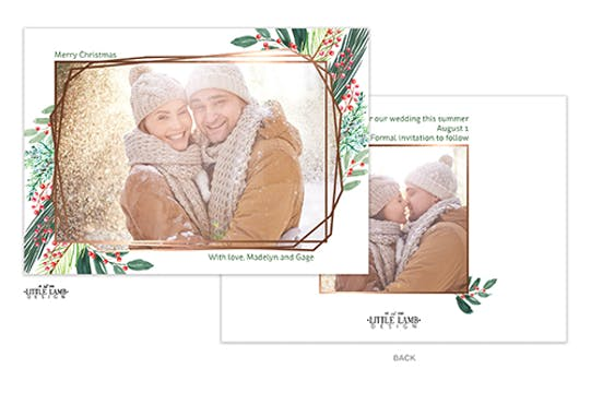 Holiday Greenery with Geometric Frame Holiday Photo Card