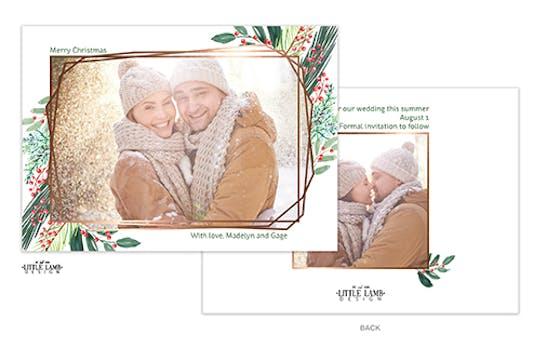 Holiday Greenery with Geometric Frame Holiday Photo Card