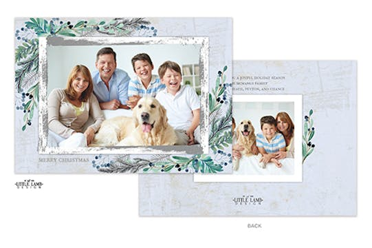 Winter Berry Rustic Frame Holiday Photo Card