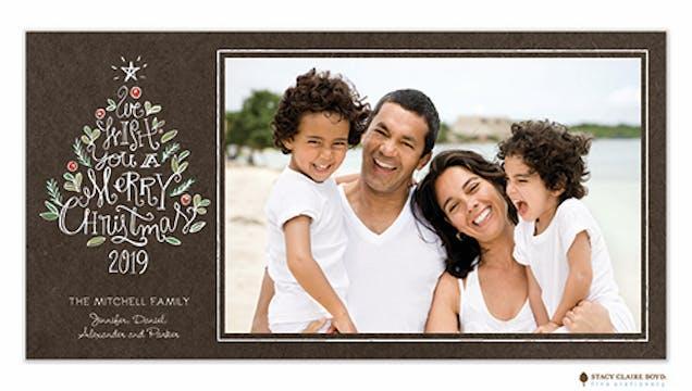 Chalk Tree Wishes Holiday Flat Photo Card