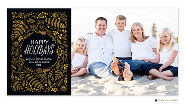 Holiday Happiness Foil Pressed Photo Card