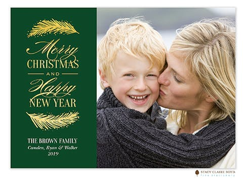 Shining Boughs Foil Pressed Holiday Flat Photo Card