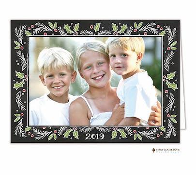 Chalkboard Christmas Border Holiday Folded Photo Card