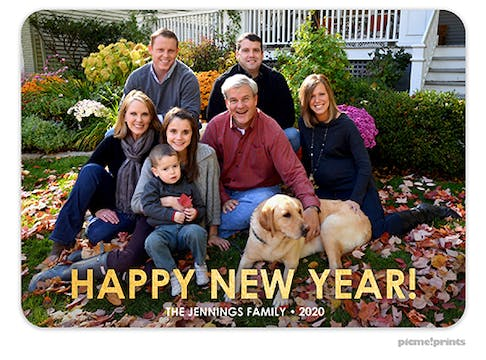 Happy New Year Foil Pressed Holiday Flat Photo Card