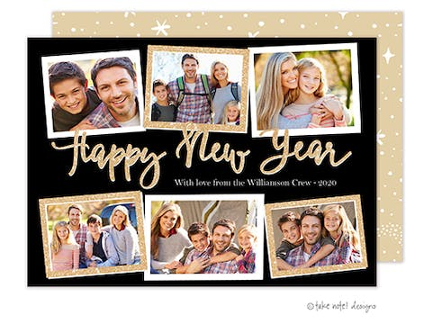 Happy New Year Glitter Collage Holiday Photo Card