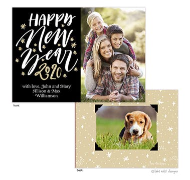 Starry Happy New Year Black Holiday Photo Card
