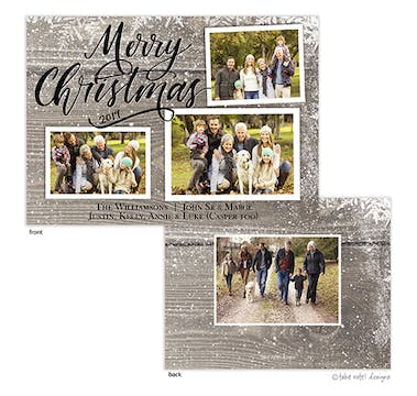 Barn Wood Snowfall Merry Christmas Holiday Photo Card