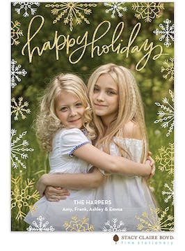 Casual Glitter Holiday Photo Card