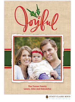 Burlap Joy Holiday Photo Card