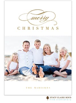 Modern Christmas Foil Pressed Holiday Photo Card