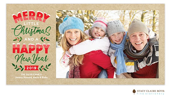 Merry Little Christmas Print & Apply Holiday Photo Card