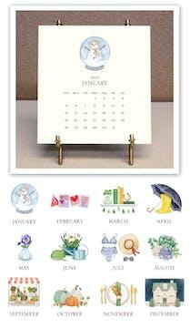 Hand-sparkled 2020 Desk Calendar & Easel