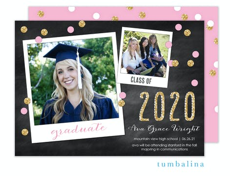 Grad Confetti Snapshots Pink Photo Card