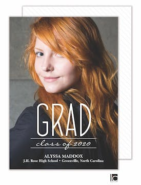 Modern Type Graduation Photo Card