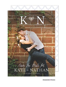 Initial Photo Save The Date Card