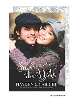 Script Photo Save The Date Card