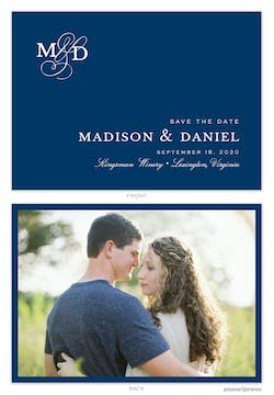 Modern Monogram Navy Save The Date Photo Card