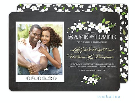 Enchanted Floral Chalkboard Snapshot Photo Save The Date Card