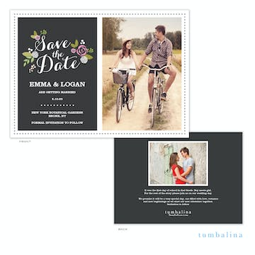 Floral Slate Photo Save The Date Card