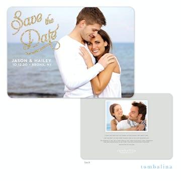 Elegant Glitter Photo Save The Date Card