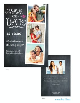Portraits Chalkboard Photo Save The Date Card