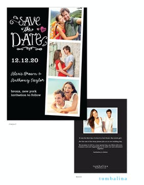 Portraits Black Photo Save The Date Card