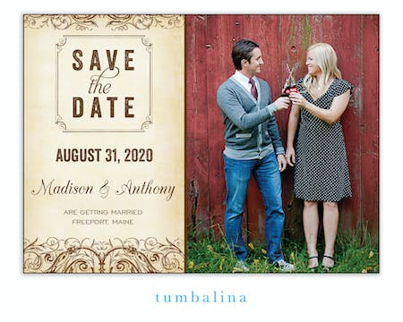 Scrolls Brown Photo Save The Date Magnet