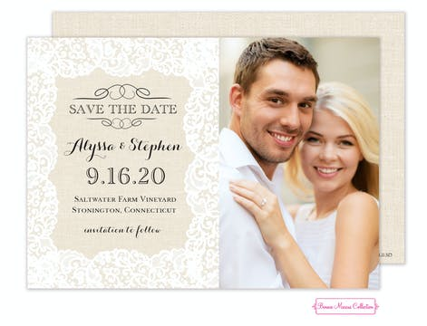 Linen Lace Save The Date Photo Card