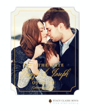 Simply Shining Foil Pressed Save The Date Card