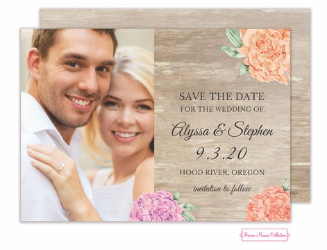 Wood Floral Save the Date Photo Card