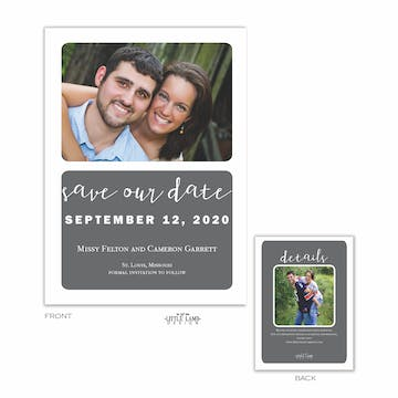 Grey Simplicity Photo Save The Date Card