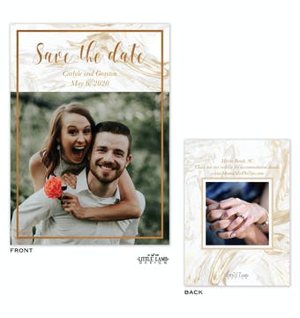 Lustrous Marble Foil-Pressed Save The Date Photo Card