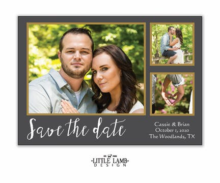 Grey And Gold Love Photo Save The Date Magnet