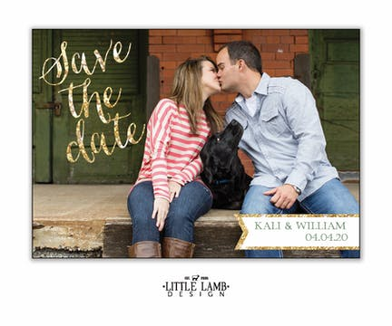 Glitter Calligraphy Photo Save The Date Magnet