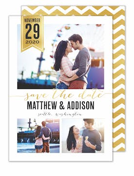 Chic Banner Photo Save The Date Card