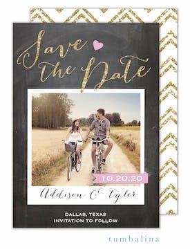 Love Chalkboard Photo Save The Date Card