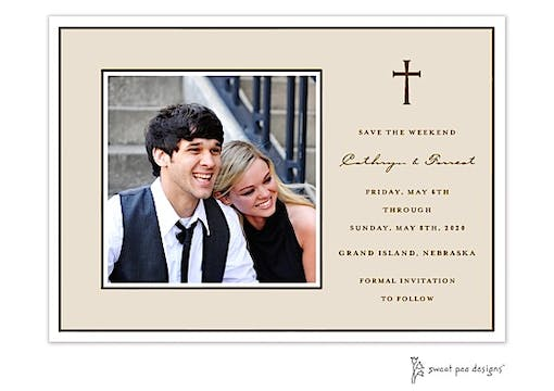Classic Edge White & Chocolate On Latte Flat Photo Save The Date Card