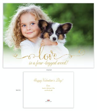 Foil Love/Four-Legged Word Photo Valentine